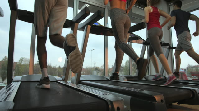 group of athletic people running on treadmills in a health club. - treadmill stock videos & royalty-free footage