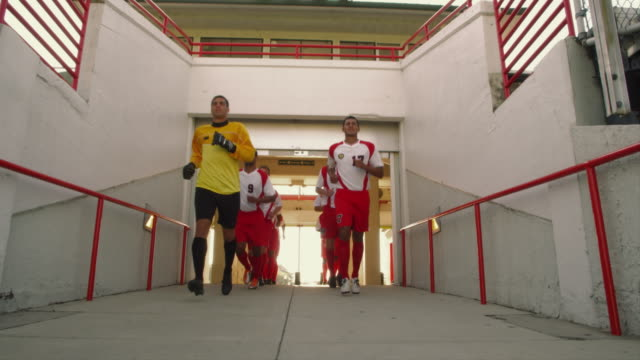 slo mo. group of athletic soccer players in their jerseys jog down the entrance ramp of a stadium to the field for a game - cancello video stock e b–roll