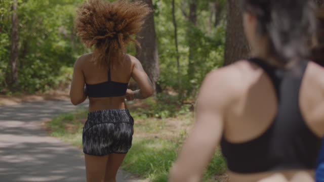 slow mo. group of athletic women run on a path in the forest together away from the camera - encouragement stock videos & royalty-free footage