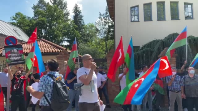 group of azerbaijanis gathered in germany's capital to protest against the occupation of upper karabakh by armenia and attacks by its forces since... - united nations general assembly stock videos & royalty-free footage