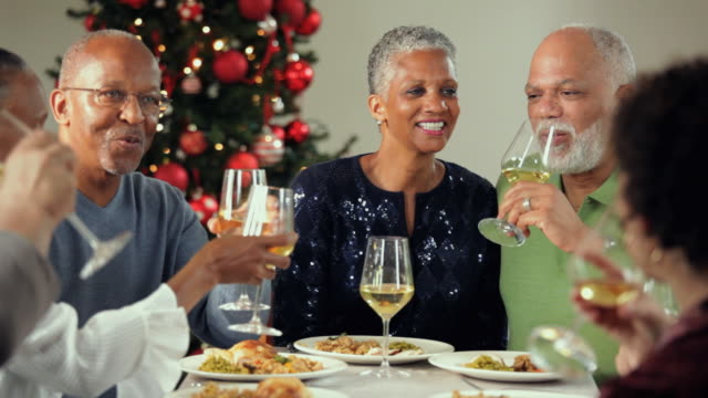 ms, pan, group of baby boomer couples eating together at christmas party, richmond, virginia, usa - lunch stock videos & royalty-free footage