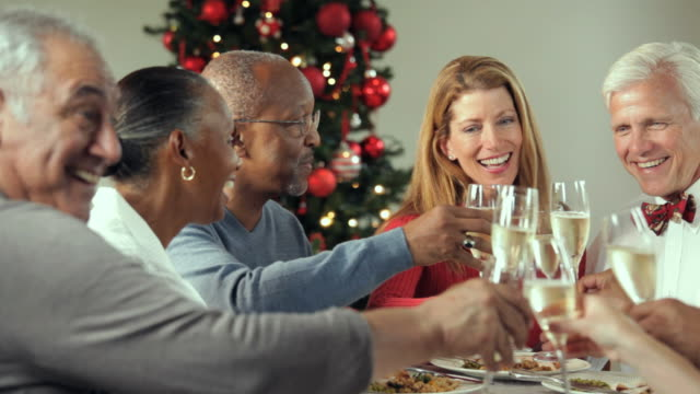 ms, pan, group of baby boomer couples eating together at christmas party, richmond, virginia, usa - wine glass stock videos and b-roll footage