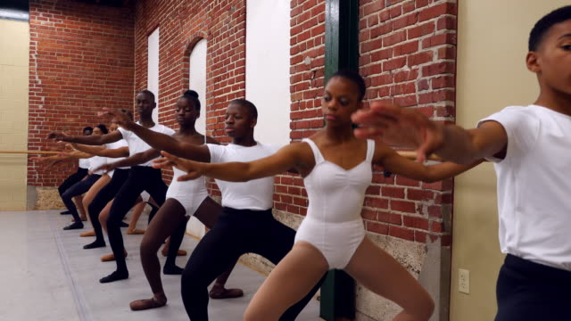 ms group of ballet dancers practicing plies at bar in ballet studio - レオタード点の映像素材/bロール