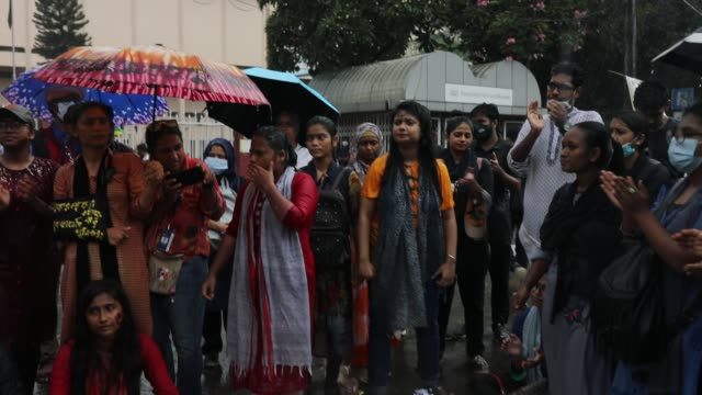 group of bangladeshi students gather to protest against an alleged gang-rape and brutal torturing of a woman in the southern district of noakhali, in... - editorial stock videos & royalty-free footage