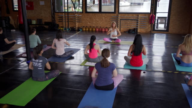 group of beautiful and young women practicing yoga, sitting cross-legged, meditating in peace and tranquility - cross legged stock videos & royalty-free footage