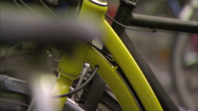 stockvideo's en b-roll-footage met cu pan r/f group of bicycles / basel, switzerland - achterlicht