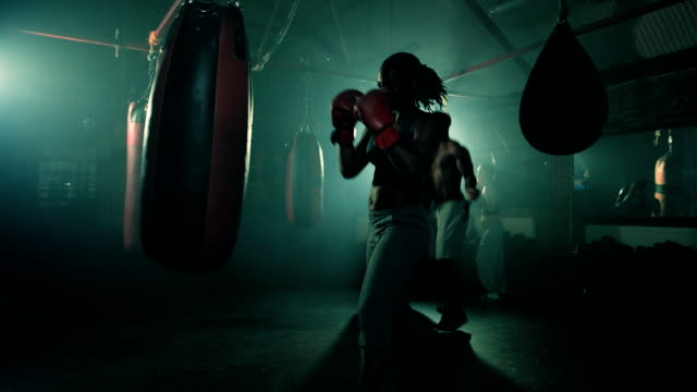 stockvideo's en b-roll-footage met ms group of boxers training. - stootzak fitnessapparatuur
