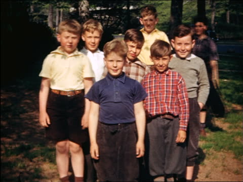 1940 portrait group of boys posing for camera outdoors / maplewood, nj / home movie - 1940 video stock e b–roll