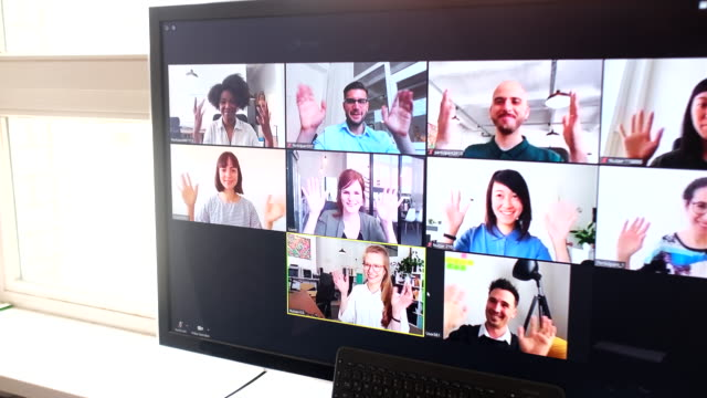 group of business people having online meeting - remote location stock videos & royalty-free footage