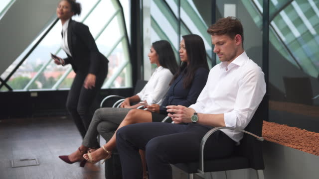 group of business people waiting for an interview - job interview stock videos and b-roll footage