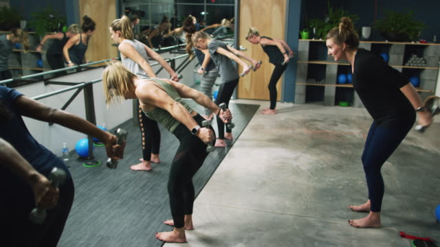 a group of caucasian women of mixed ages perform tricep exercises with hand weights in a barre studio - barre stock videos & royalty-free footage
