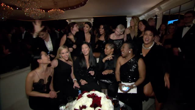 group of celebrities smile and enjoy themselves at the 75th annual golden globe awards postparty at the beverly hilton hotel in california actors... - the beverly hilton hotel stock videos & royalty-free footage