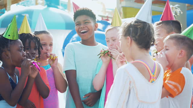group of children, birthday party at water park - 8 9 years stock videos & royalty-free footage