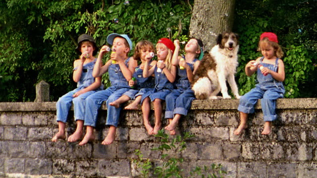 Group of children in overalls blowing bubbles sitting with dog on bridge