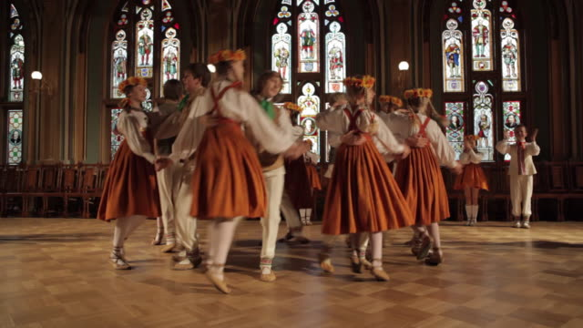 WS Group of children performing dance in Guild Hall / Riga, Latvia