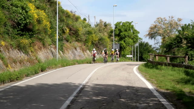Group of cyclists on the road