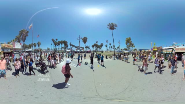 A group of dancers perform on California's famous Venice Beach