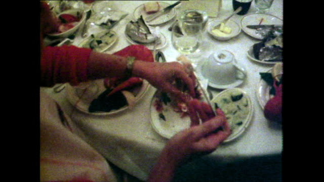 group of diners eat a lobster dinner in maine, usa; 1981 - lobster stock videos & royalty-free footage