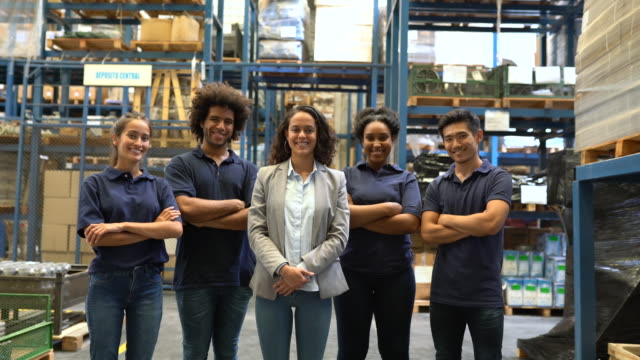 group of distribution warehouse staff - ethnicity stock videos & royalty-free footage