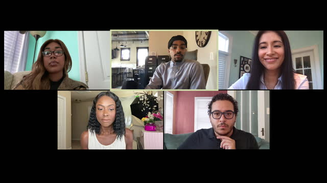 vidéos et rushes de group of diverse attentive workers wrap up a video conference call (audio) - s'adapter