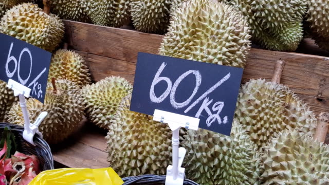 Group of durian in the market. Thailand