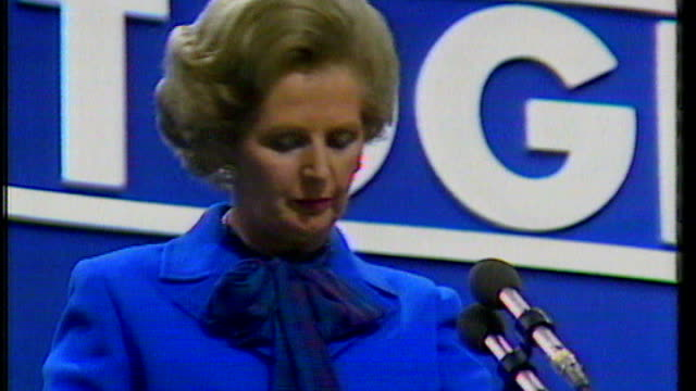 group of economists criticise severity of government spending cuts; tx sussex: brighton: margaret thatcher mp conservative party conference speech... - margaret thatcher stock videos & royalty-free footage
