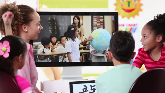 MS Group of Elementary Students Video Conferencing with School in China / Richmond, Virginia, United States