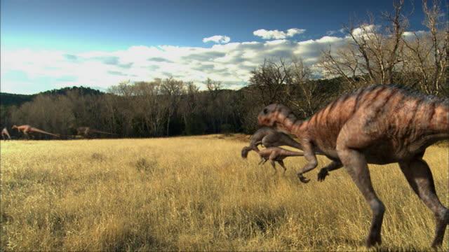 CGI, WS, Group of Eoraptors grazing in field
