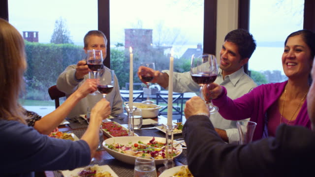 MS Group of family and friends toasting wine glasses at dinner table in home
