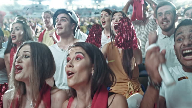 group of fans cheering for sports team - calcio sport video stock e b–roll