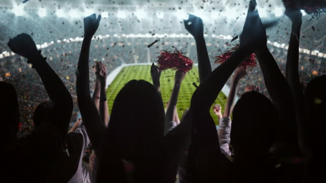 group of fans cheering for sports team - stadium stock videos & royalty-free footage