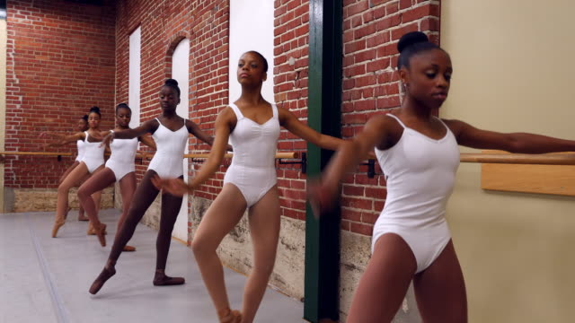 ms group of female ballet dancers practicing at barre in studio - barre stock videos & royalty-free footage