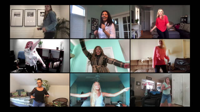 a group of female friends have a dance party in their homes - computer stock videos & royalty-free footage