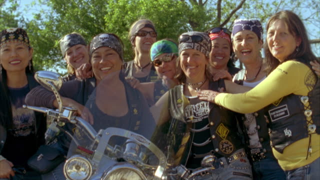 ms group of female motorcyclists / luckenbach, texas, usa  - standing stock videos & royalty-free footage