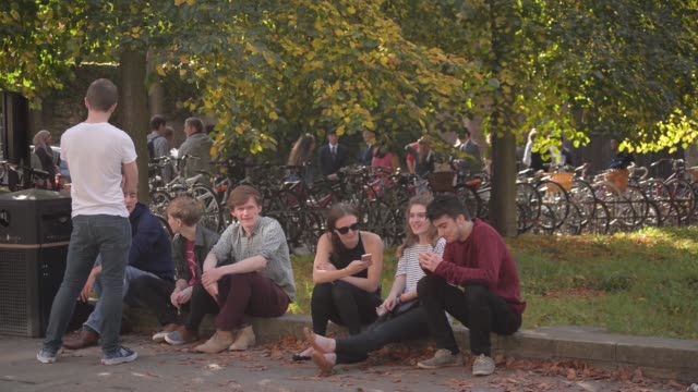 group of female students sit chatting and drinking coffee at an outdoor cafe table in cambridge, u.k. on sunday, oct. 5 a female stands talking on... - week video stock e b–roll