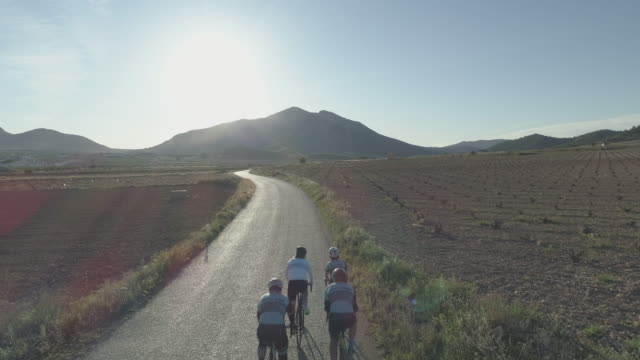 group of four cyclists in the roads near algueña village, alicante province,spain,europe - caucasian appearance stock videos & royalty-free footage