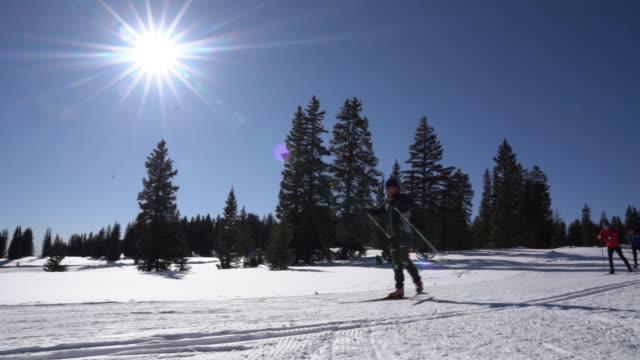 en grupp av fyra skidåkare i en klassisk längdskidåkning stil - längd bildbanksvideor och videomaterial från bakom kulisserna