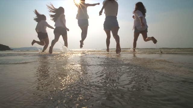 group of friend  having fun on the beach - beach stock videos & royalty-free footage