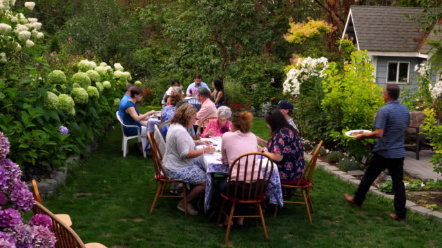 ms group of friends and family eating meal together during garden party - fram eller baksida bildbanksvideor och videomaterial från bakom kulisserna