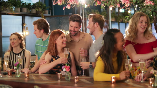 group of friends at a bar - party social event stock videos & royalty-free footage