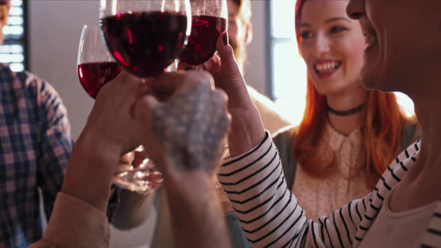 group of friends celebrating and toasting with wineglasses. slow motion. - drinking stock videos and b-roll footage
