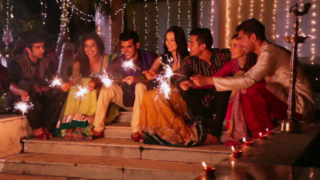 Group of friends celebrating diwali, Delhi, India