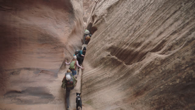 group of friends climb single file up sandstone wall through narrow slot canyon as dog waits below. - rock climbing stock videos & royalty-free footage