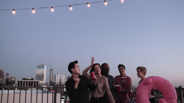 group of friends dancing at a rooftop party - asiatischer und indischer abstammung stock-videos und b-roll-filmmaterial