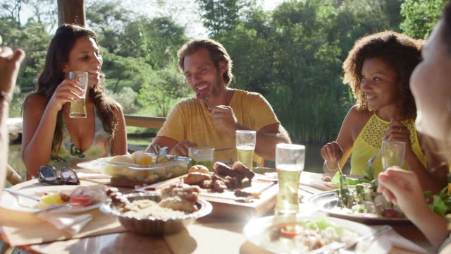 ms group of friends drinking and having a barbecue / maringa, brazil - frauen über 30 stock-videos und b-roll-filmmaterial