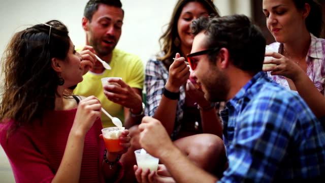 group of friends eating icecreams - gelato stock videos & royalty-free footage