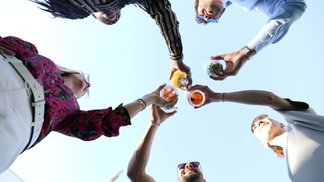 group of friends enjoying a drink together and toasing to celebrate - celebratory toast stock videos & royalty-free footage