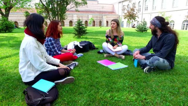 キャンパスでの会議を楽しんでいる友人のグループ - 男性と複数の女性点の映像素材/bロール