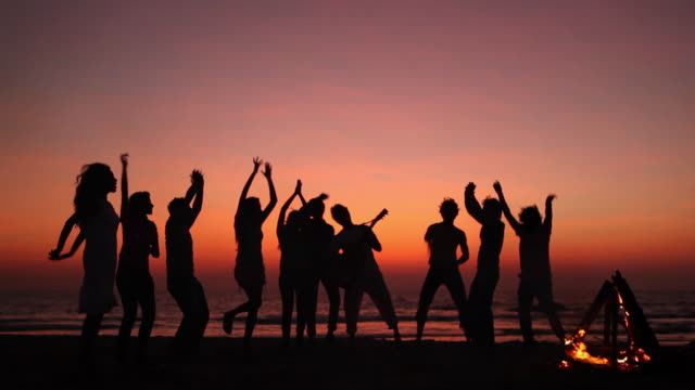 group of friends enjoying on the beach - back lit woman stock videos & royalty-free footage
