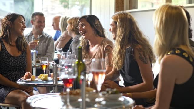 vídeos y material grabado en eventos de stock de a group of friends having fun in a wine bar cafe. - eventos sociales después del trabajo